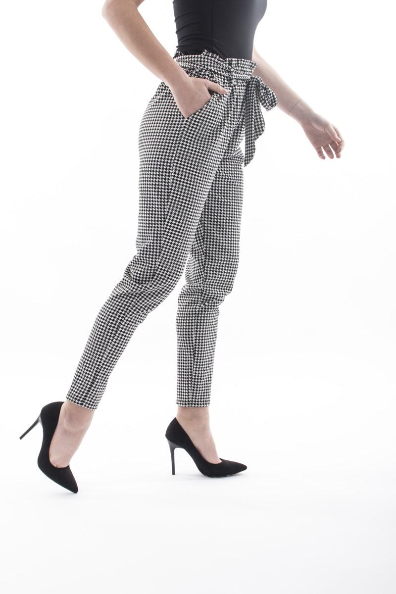 pantalon coupe droite motif pied de poule cinelle boutique. Black Bedroom Furniture Sets. Home Design Ideas