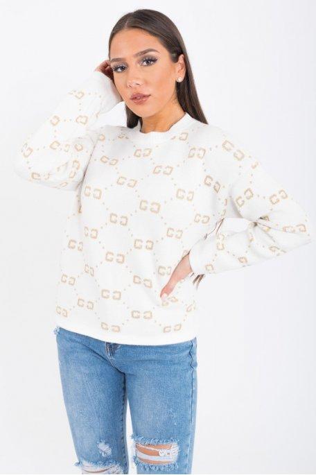 Pull blanc motif GG