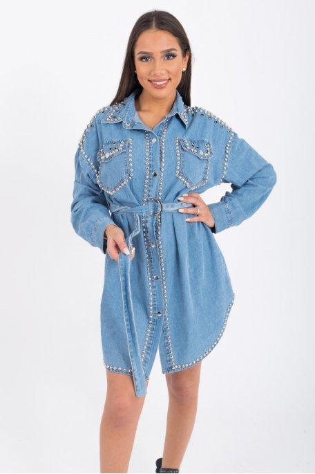 Robe chemise en jean cloutée