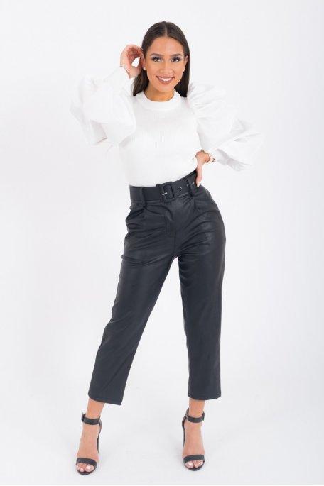 Pantalon similicuir taille haute ceinture