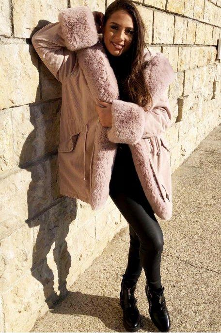 Manteau velours côtelé fausse fourrure