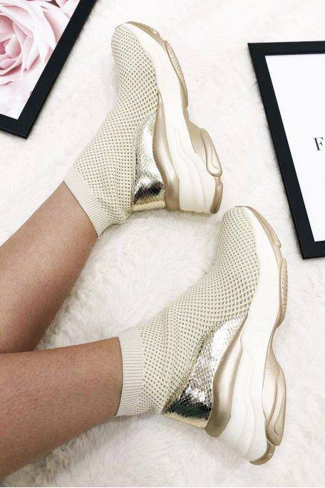Baskets montantes chaussettes croco
