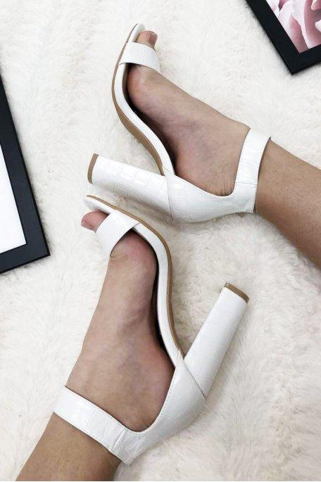 Sandales à talons croco