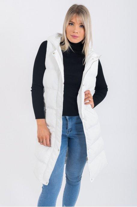 Doudoune parka longue blanche sans manches