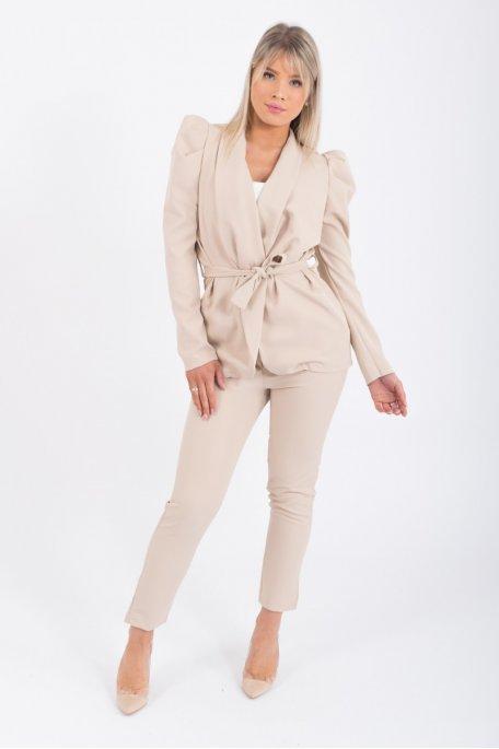 Ensemble tailleur veste et pantalon beige