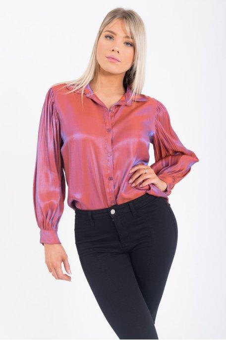 Chemise brillante manches plissées violet