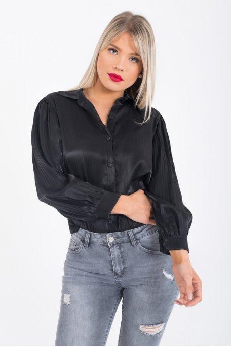 Chemise brillante manches plissées noir