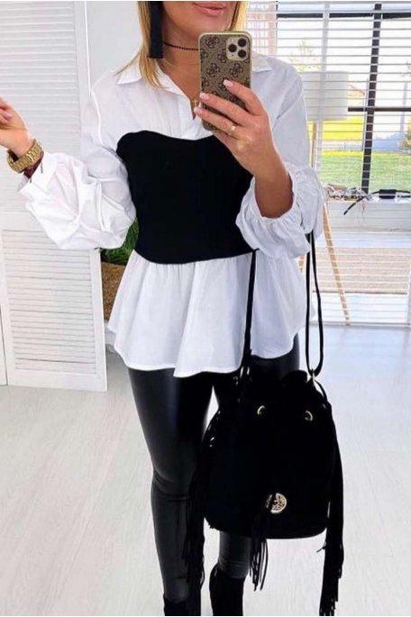Top chemise noir bi-matière