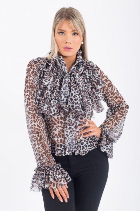 Blouse marron imprimé léopard à volants