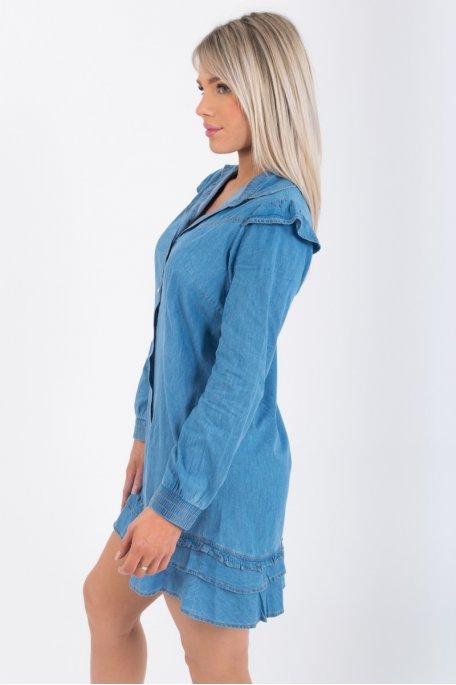 Robe chemise en jean volants