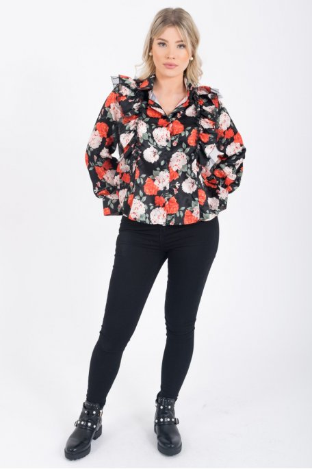 Chemise froufrou noire fleurie