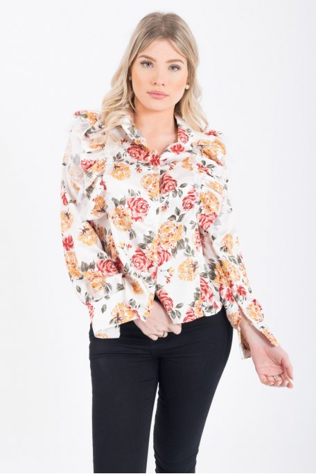 Chemise froufrou blanche fleurie