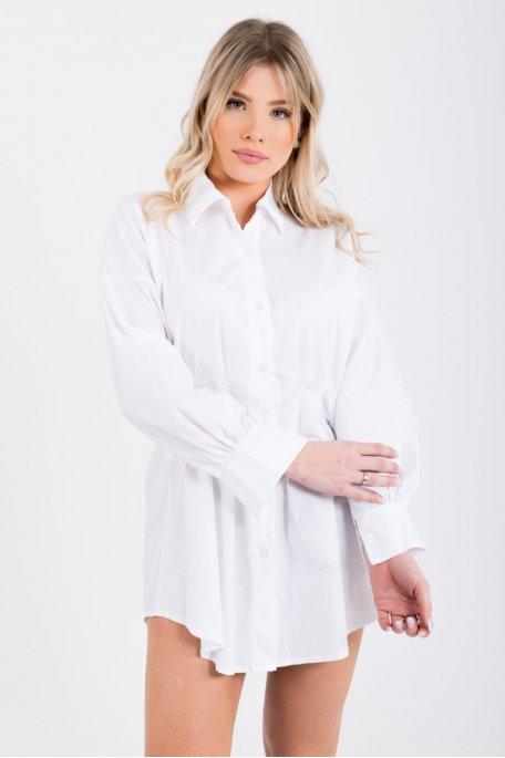 Chemise longue blanche cintrée