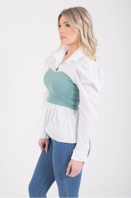 Top chemise vert bi-matière
