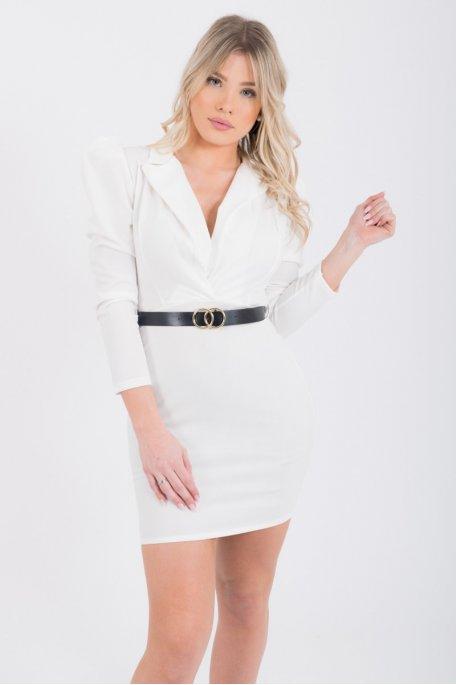 Robe style veste ceinturée blanche