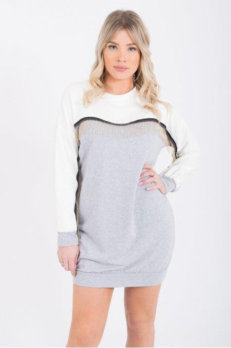 Sweat robe bi-color gris