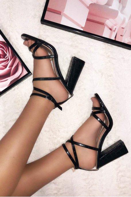 Sandales à nouer effet croco talon carré