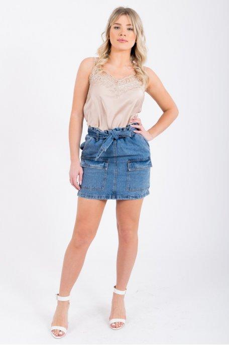 Jupe en jean taille élastique grandes poches