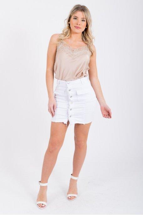 Jupe en jean blanche boutonnée