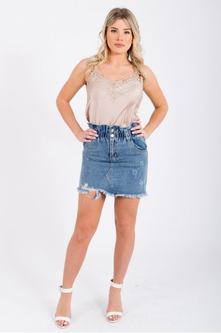 Jupe en jean taille élastique