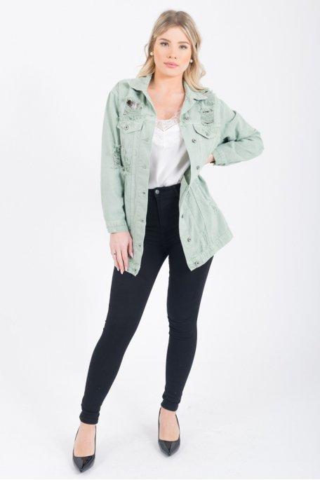 Veste en jean longue déchiré kaki Cinelle Boutique