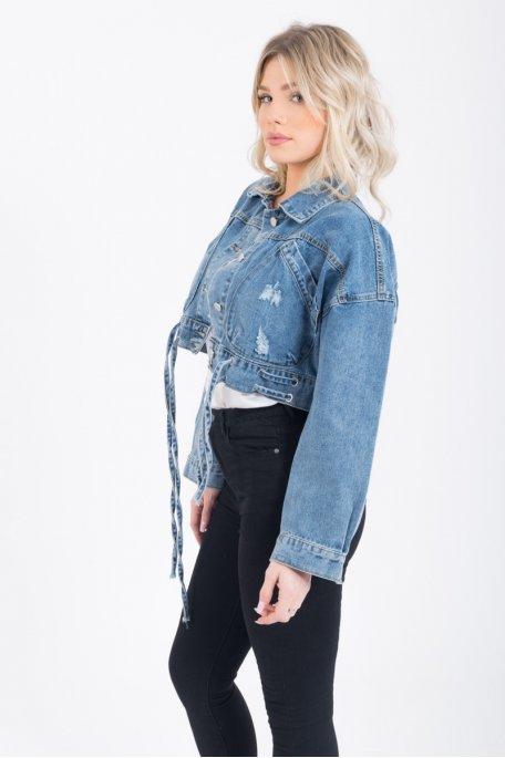 Veste en jean courte délavée