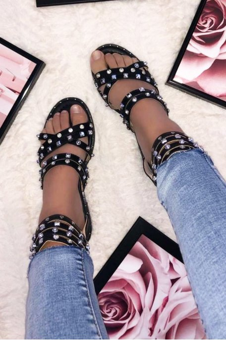 Sandales plates cloutées strass noires
