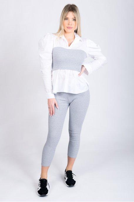 Ensemble bi-matière chemise côtelé gris
