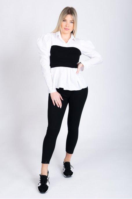 Ensemble bi-matière chemise côtelé noir