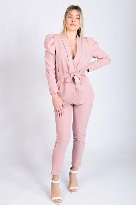 Ensemble tailleur veste et pantalon rose