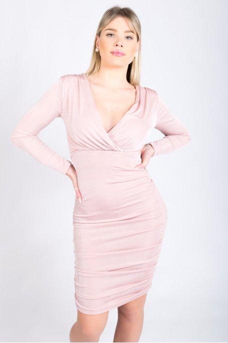 Robe froncée cache-coeur rose