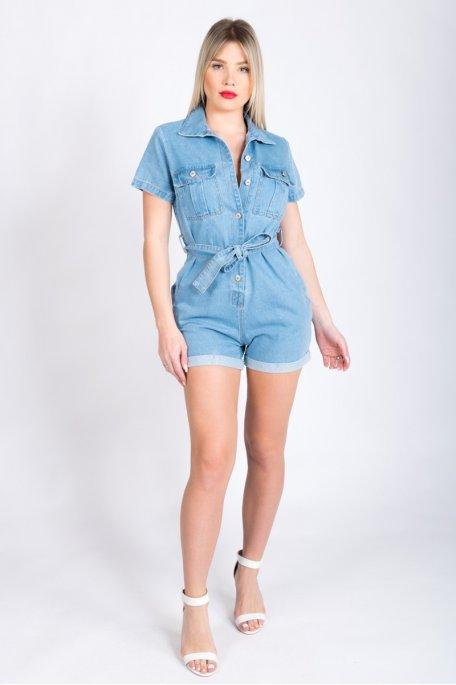 Combi-short en jean bleu