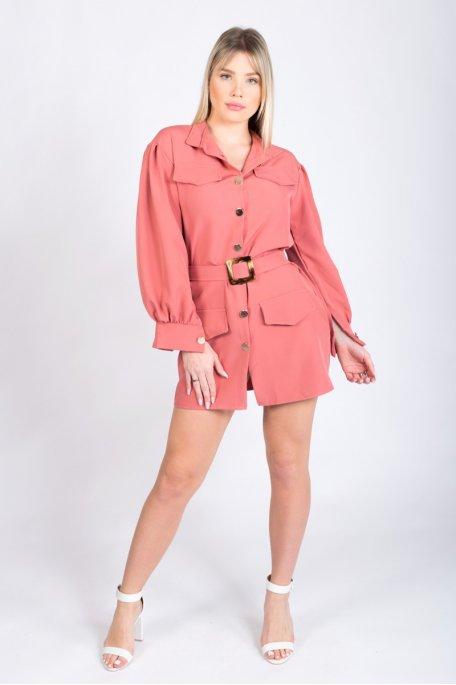 Chemise rose ceinturée boutonnée