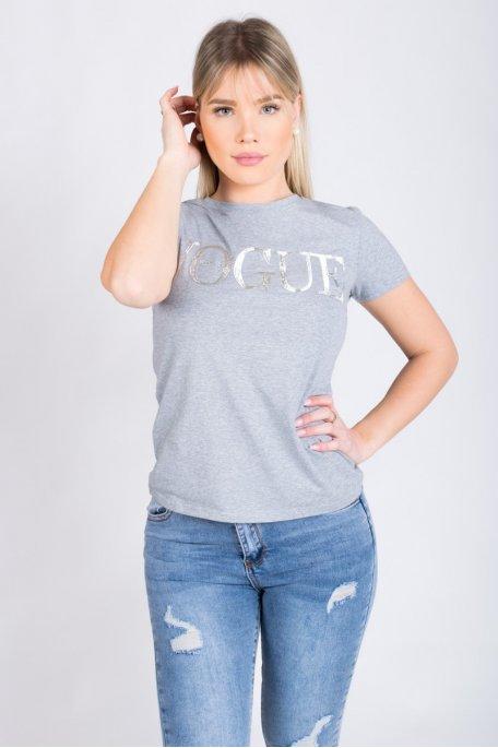 Tee-shirt gris vogue argenté