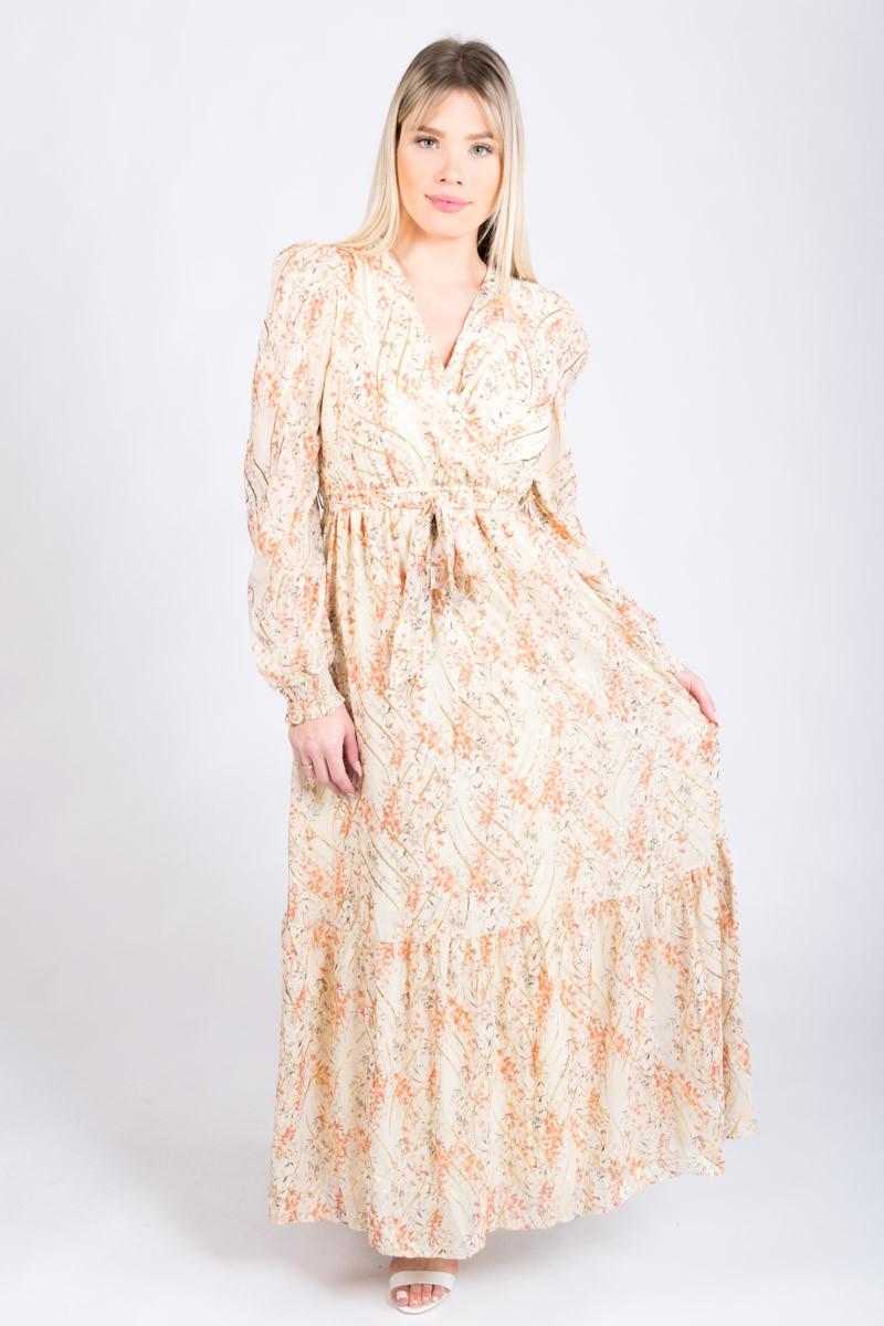 Robe longue fluide fleurie, lien avec pompons
