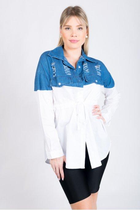Robe chemise blanche bi-matière bleu déchiré