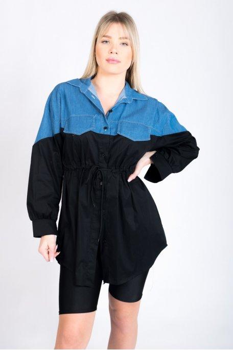 Robe chemise noire bi-matière en jean