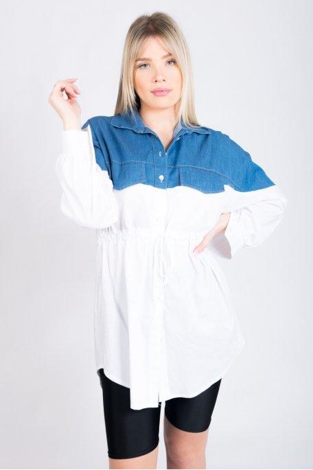 Robe chemise blanche bi-matière en jean
