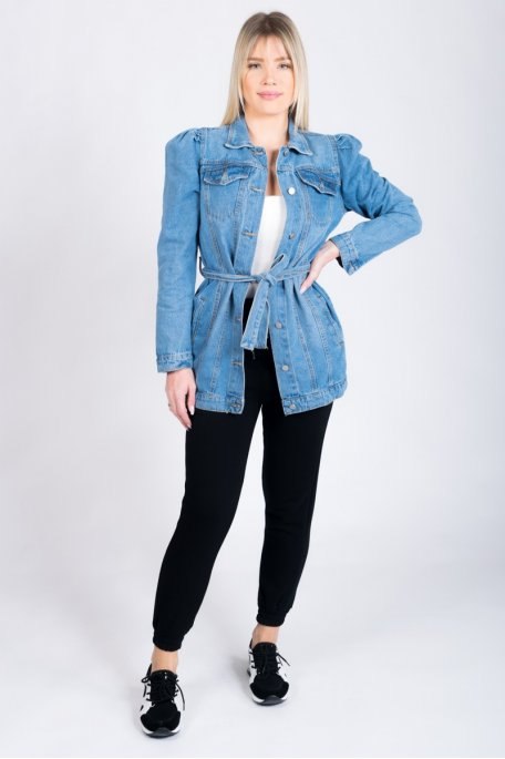 Veste en jean longue avec ceinture