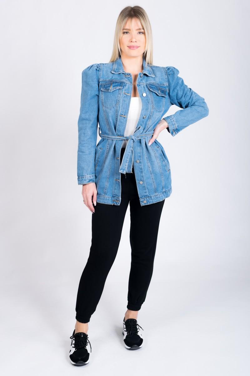 Veste en jean longue ceinturé manches bouffantes Cinelle