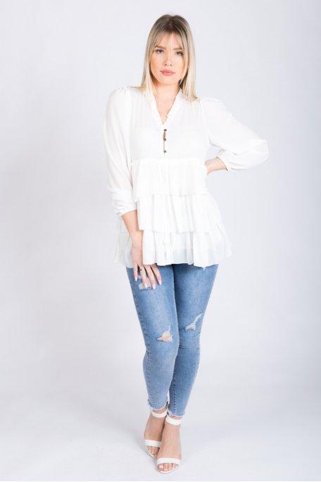 Chemise blanche à volants