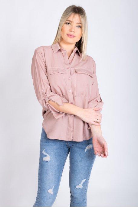 Chemise rose satinée avec poches