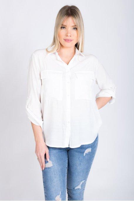 Chemise blanche satinée avec poches