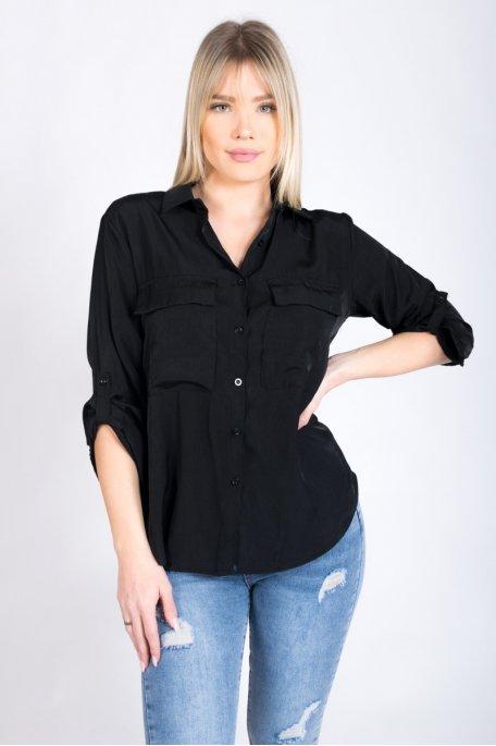 Chemise noire satinée avec poches