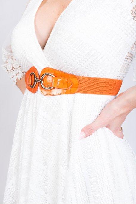 Ceinture orange effet croco élastique