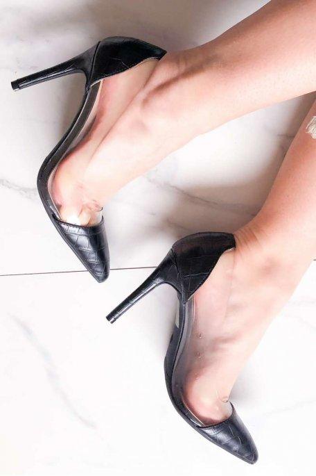 Escarpins noirs effet croco