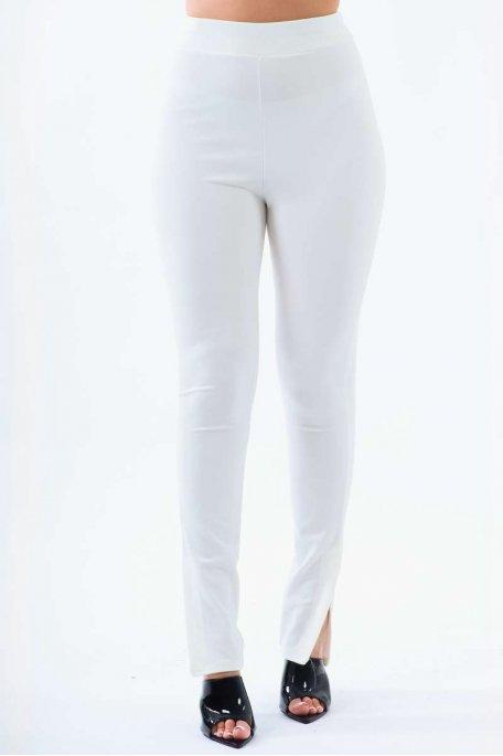 Pantalon slim blanc fendu