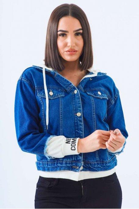 Veste en jean blanche bi-matière