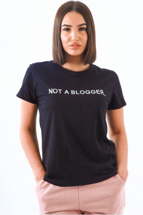 """Tee-shirt noir imprimé """"not blogger"""""""