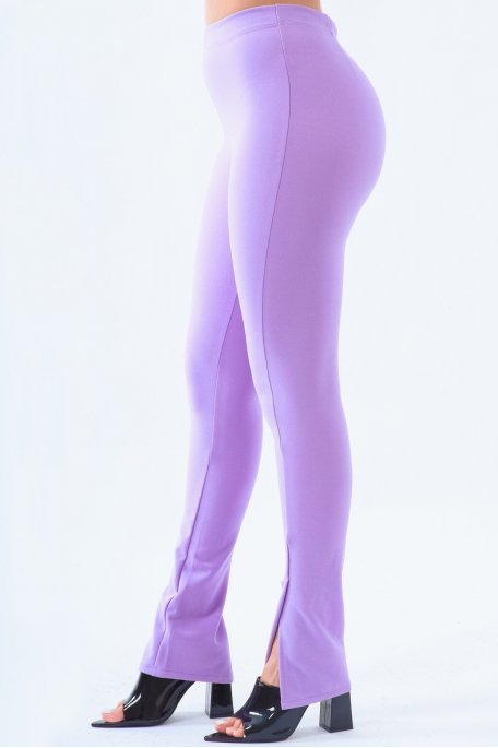 Pantalon slim violet fendu